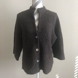 Eileen Fisher Brown Wool/Alpaca Cardigan L EUC